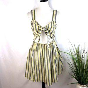 ASOS Yellow Striped Tie-front Mini-dress Size 8